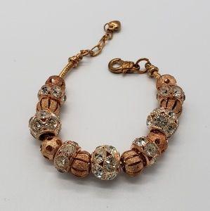 Copper Color Slide Charms Beads Beaded Bracelet